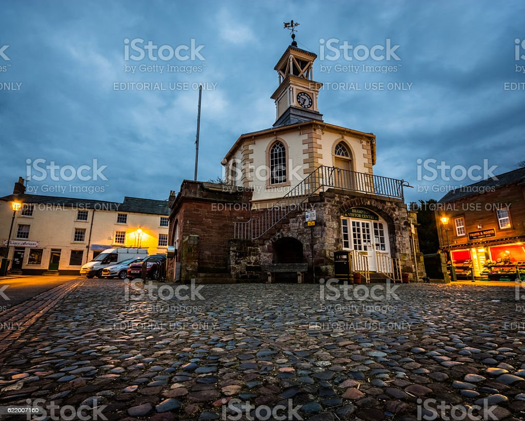Moot Hall in Brampton, Cumbria early in the morning stock photo