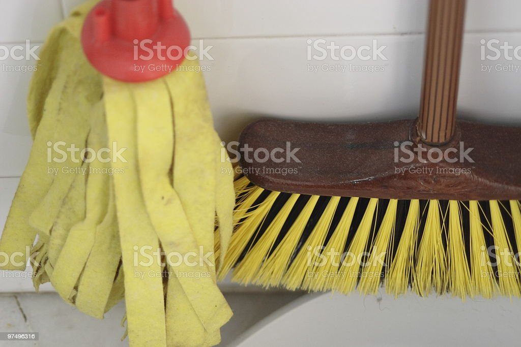 mop and brush royalty-free stock photo