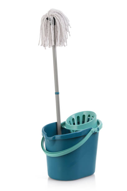 Mop and bucket Mop and bucket isolated on white mop stock pictures, royalty-free photos & images