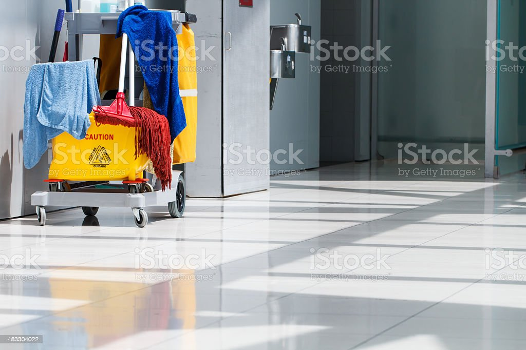 Mop bucket and cleaning stock photo