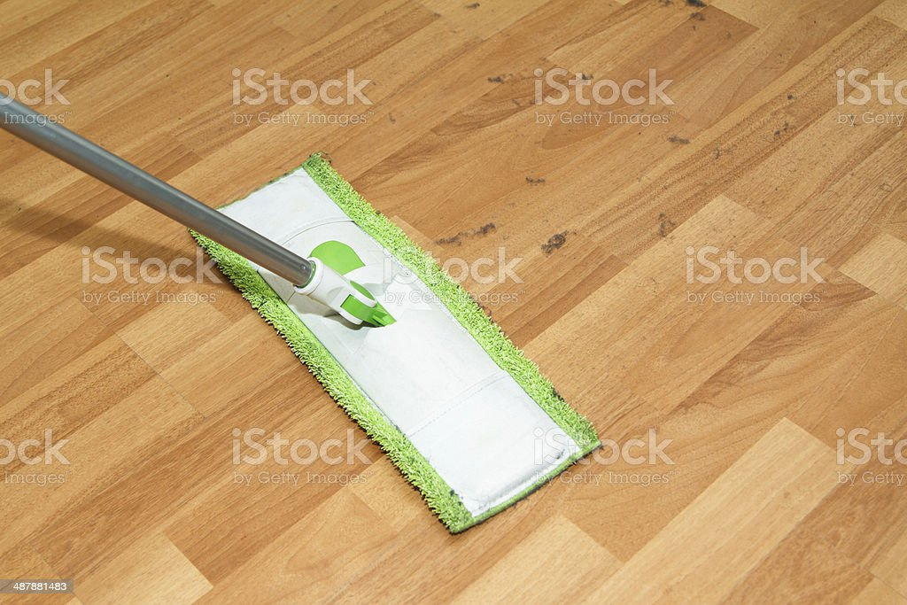 Mop Cleaning Parquet stock photo