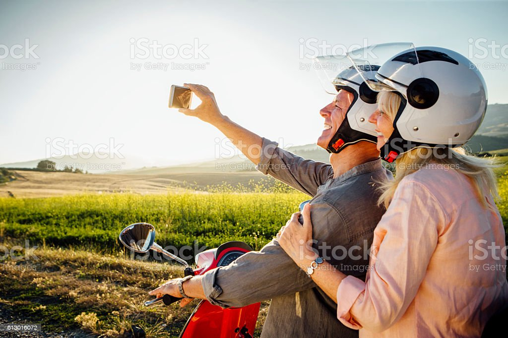 Moped Selfie stock photo