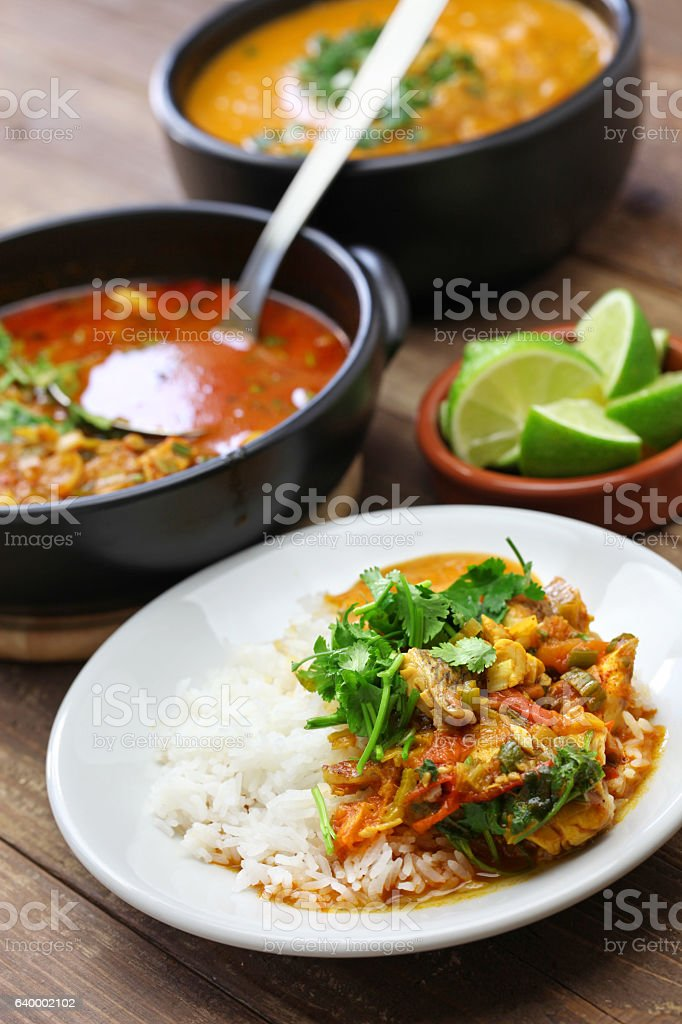 moqueca capixaba, brazilian fish stew stock photo