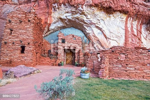 Moqui (Moki) Archeology Cave Shelter and Food Store Ruins in Sandstone Cliffs near Kanab Utah, once used by Anasazi Hopi Native Tribe