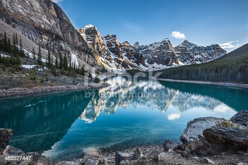 Evening at Moraine Lake taken from the rockpile. It is probably the most iconic Canadian lake. Banff National Park - Alberta