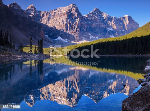Moraine lake is a glaciated lake in Banff, Alberta Canada.