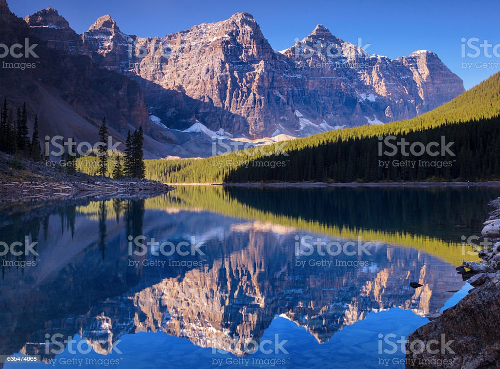 Morain Lake Reflection stock photo