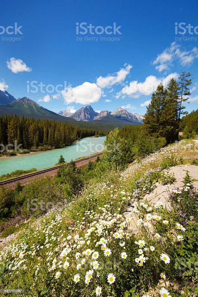 Moraine Curve Along Bow River of Banff National Park Canada stock photo