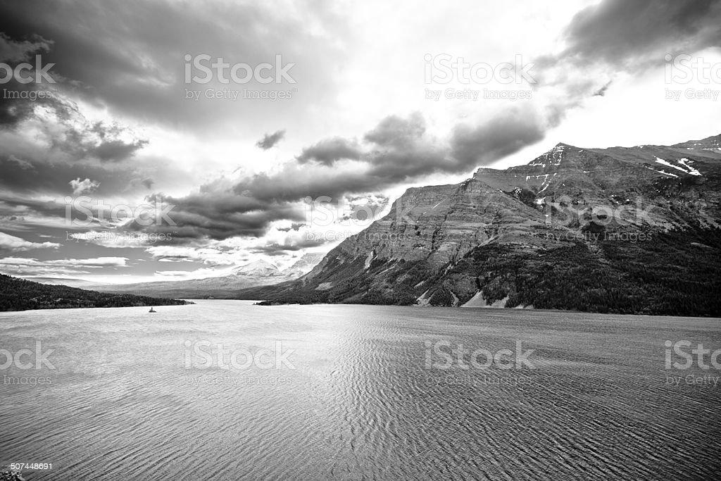 Moraine Lake And Mountain in Montana (Black & White) stock photo