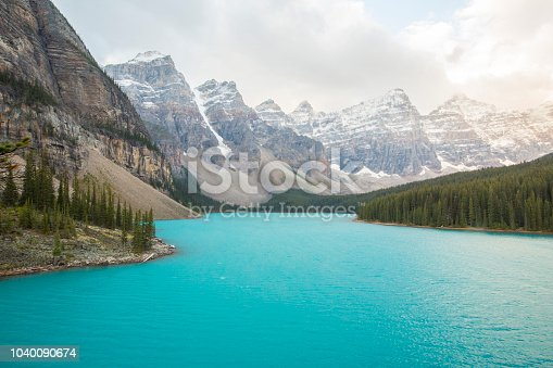 Moraine Lake is a glacially fed lake in Banff National Park, Alberta, Canada
