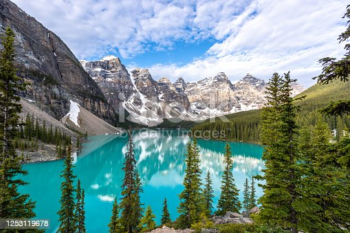 Moraine Lake at sunrise in June, Banff National Park, Canada