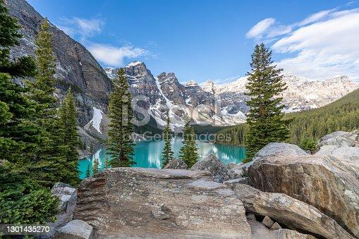 istock Moraine Lake at sunrise in June, Banff National Park, Canada 1301435270