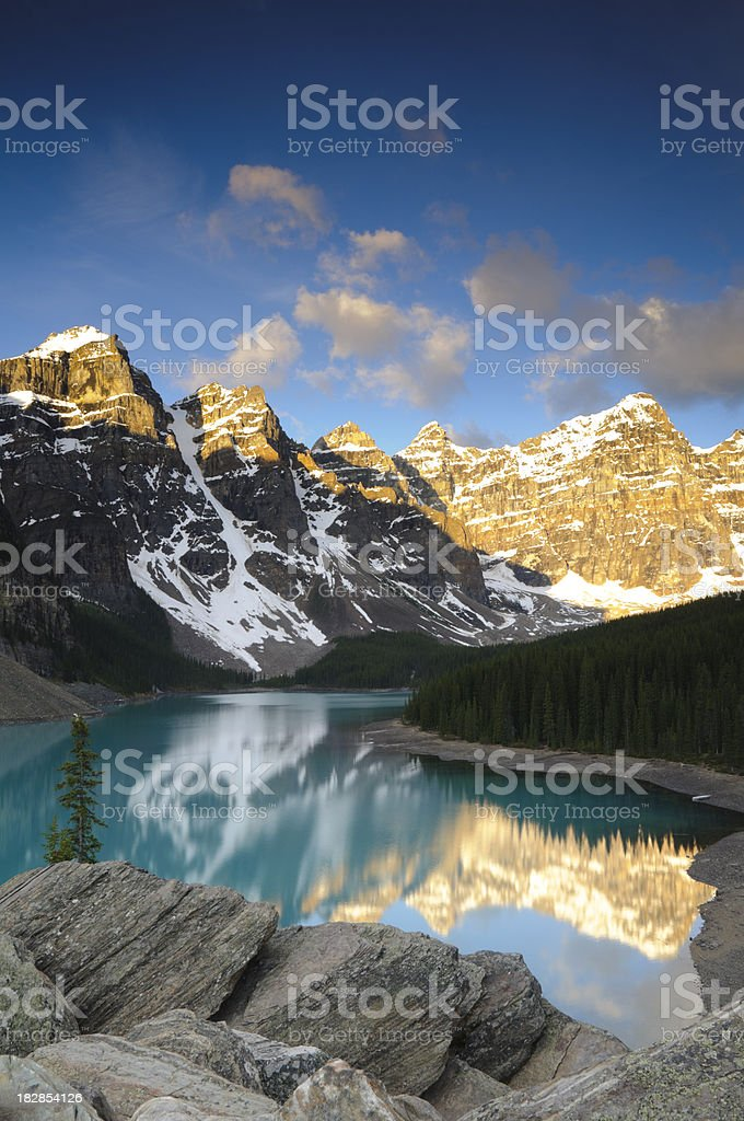 Moraine Lake at sunrise royalty-free stock photo