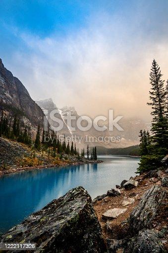 Moraine Lake at sunrise, Valley of the Ten Peaks, Banff National Park, Alberta, Canada.