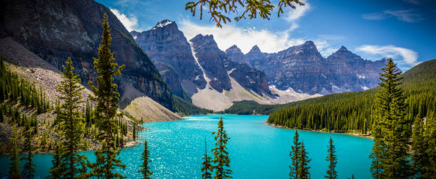 Moraine Lake, Banff Alberta A breath taking view of Moraine Lake in the Banff Alberta national park.  The water has a most unique color of turquoise, adding to it are the clouds, mountains and glaciers.  moraine lake stock pictures, royalty-free photos & images
