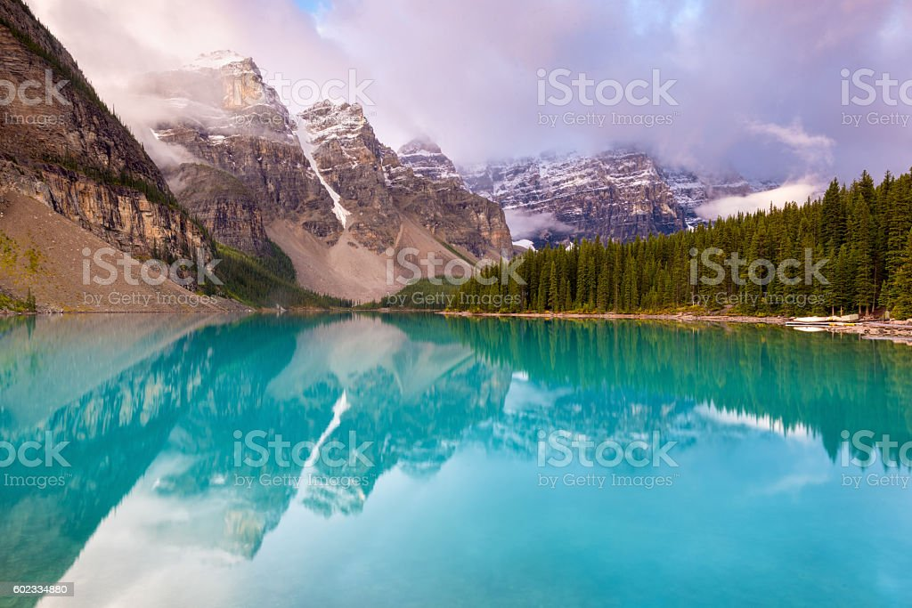 Moraine Lake, Banff National Park, Alberta, Canada stock photo