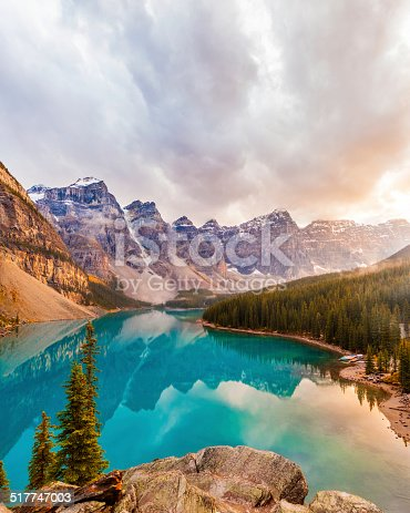 A beautiful and unique image of Moraine Lake in Banff National Park, Alberta, Canada, during sunset. An HDR treatment was used to captured all the dramatic colours and tonal depth.