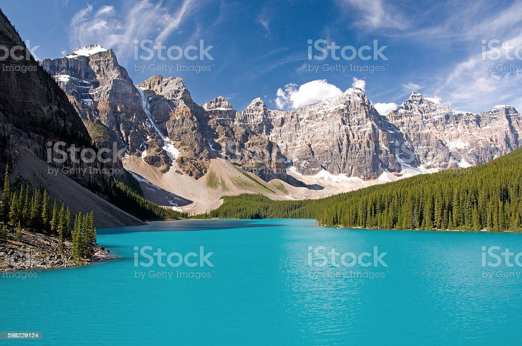 Moraine Lake, Parque Nacional de Banff foto royalty-free