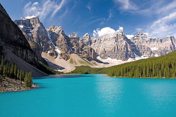 Moraine Lake, Banff National Park Beautiful Moraine Lake in Banff National Park in Alberta, Canada. This lake is located near the town of Lake Louise. It was once featured on the Canadian 20 dollar bill. This is the natural colour of this glacier-fed lake and has not been altered. moraine lake stock pictures, royalty-free photos & images