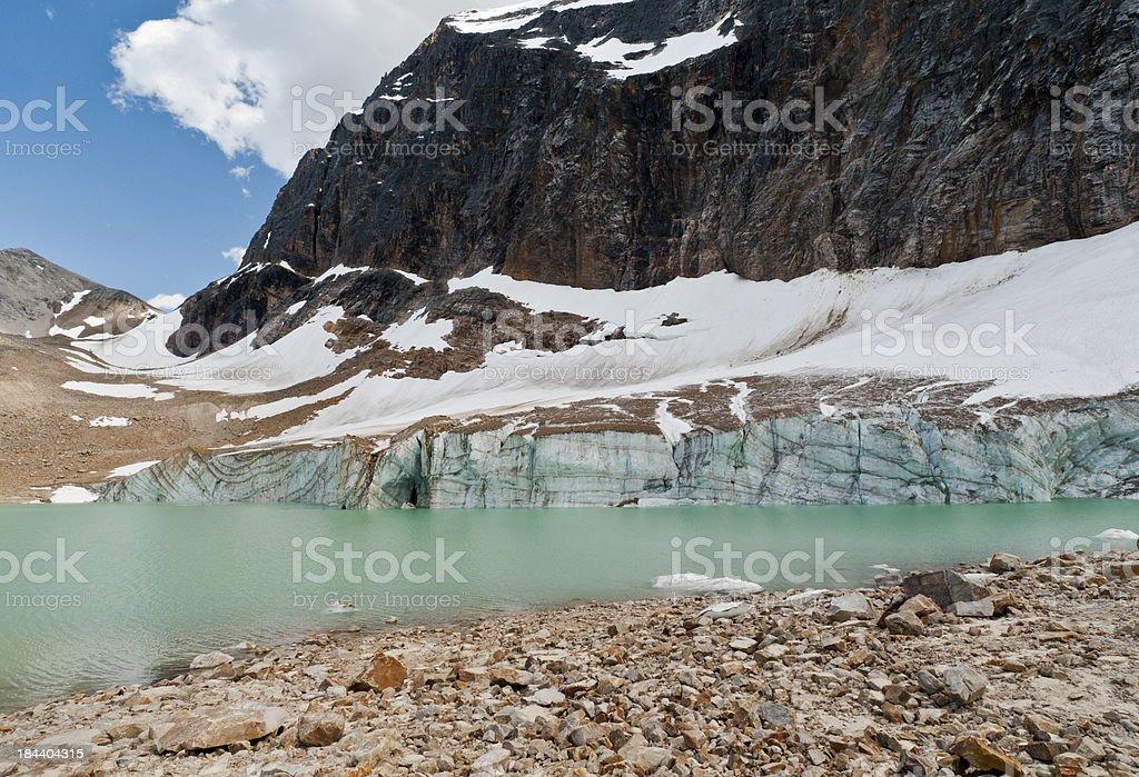 Moraine Lake below Angel Glacier stock photo