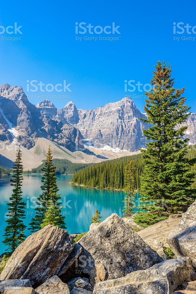 Moraine Lake, Canadian Rockies stock photo