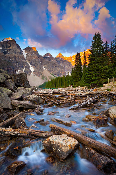 Moraine Lake Creek Wide View of Moraine Lake Creek at Sunrise with Mountains in the Background valley of the ten peaks stock pictures, royalty-free photos & images