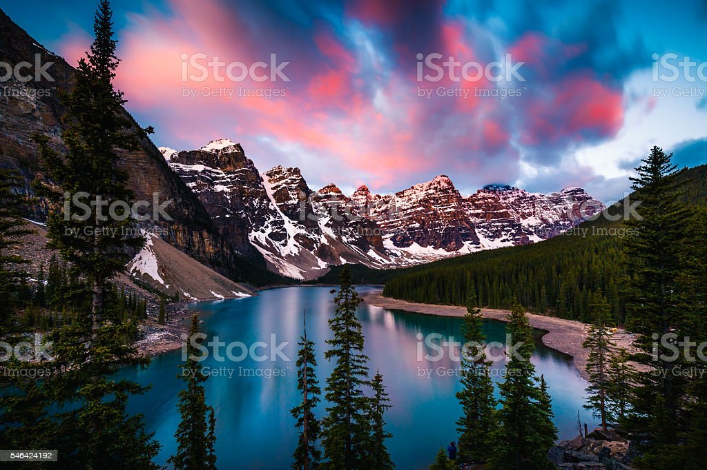 Moraine Lake in Banff, Alberta, Canada stock photo
