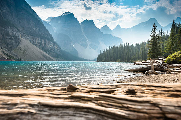 moraine lake in banff national park - canada - idyllisch stockfoto's en -beelden