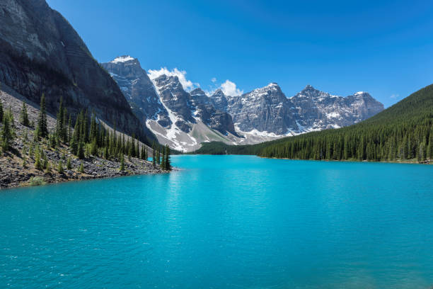 - moraine lake in banff national park - banff national park stock photos and pictures