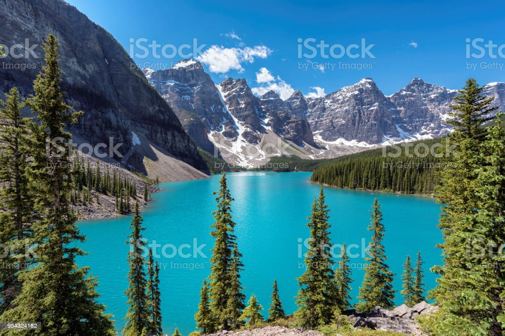 Moraine lake in Canadian Rockies, Banff National Park, Canada. stock photo