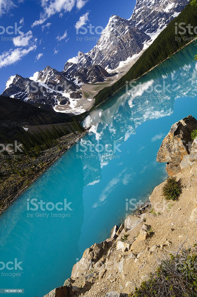 Moraine Lake in summer - angled shot royalty-free stock photo