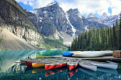 istock Moraine lake in the Rocky Mountains, Alberta, Canada 672828402