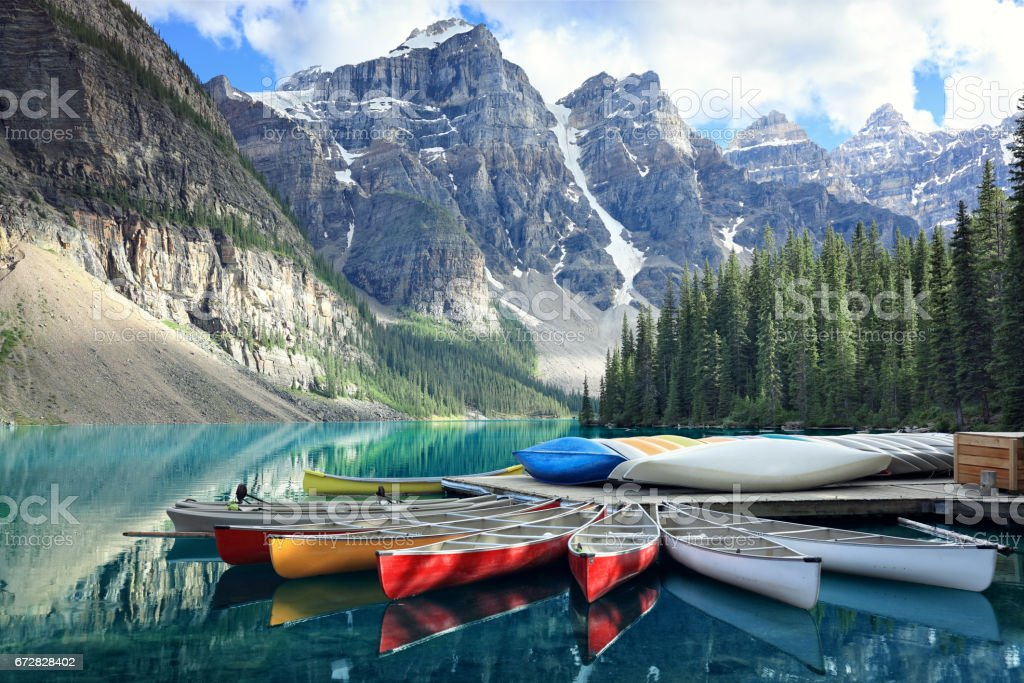 Moraine lake in the Rocky Mountains, Alberta, Canada stock photo