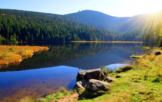 moraine lake kleiner arbersee med mount grosser arber i tyskland. - bayerischer wald bildbanksfoton och bilder