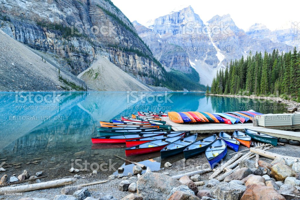 Moraine Lake Lodge Conoes Stock Photo Download Image Now