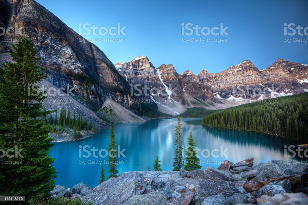 Moraine Lake morning stock photo