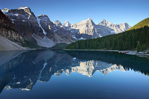Moraine Lake Morning  valley of the ten peaks stock pictures, royalty-free photos & images