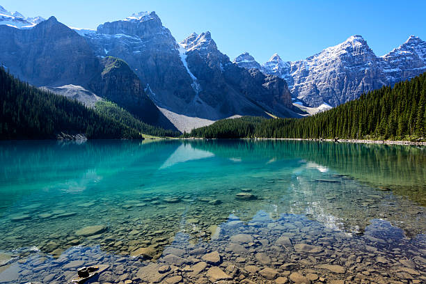 Moraine Lake on a mid-summer morning stock photo