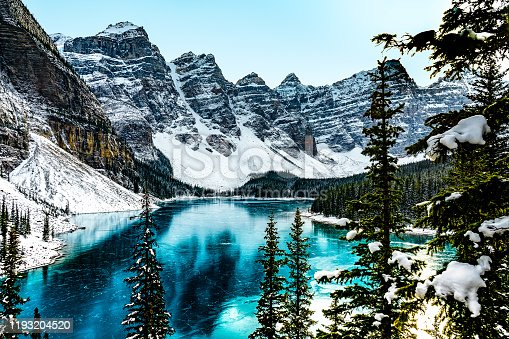 Panorama view of Moraine Lake in Banff National Park, Alberta, Canada during winter with frozen water