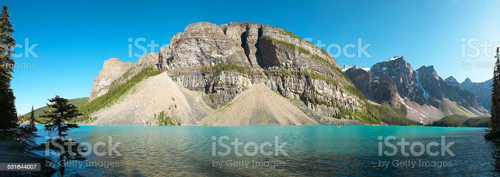 Moraine lake panoramic view. Alberta. Canada stock photo