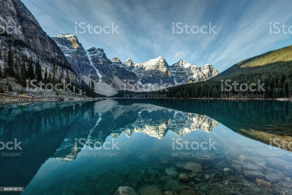 Moraine Lake Reflection stock photo