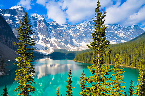 moraine lake, rocky mountains, canada - banff national park stock photos and pictures