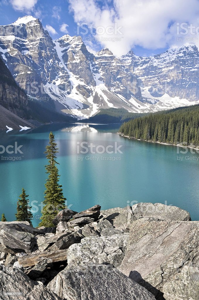 Moraine Lake, Rocky Mountains (Canada) stock photo