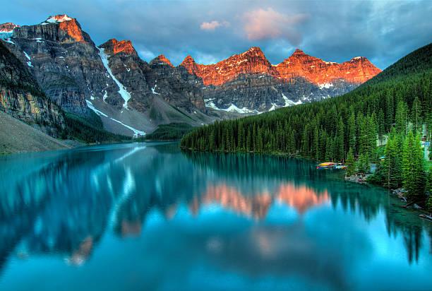 Moraine Lake Sunrise Colorful Landscape stock photo