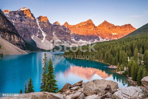 Sunrise over Moraine Lake, Banff National Park, Alberta, Canada