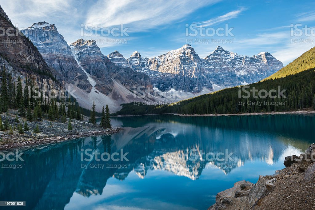 Moraine Lake with in the valley of ten peaks stock photo
