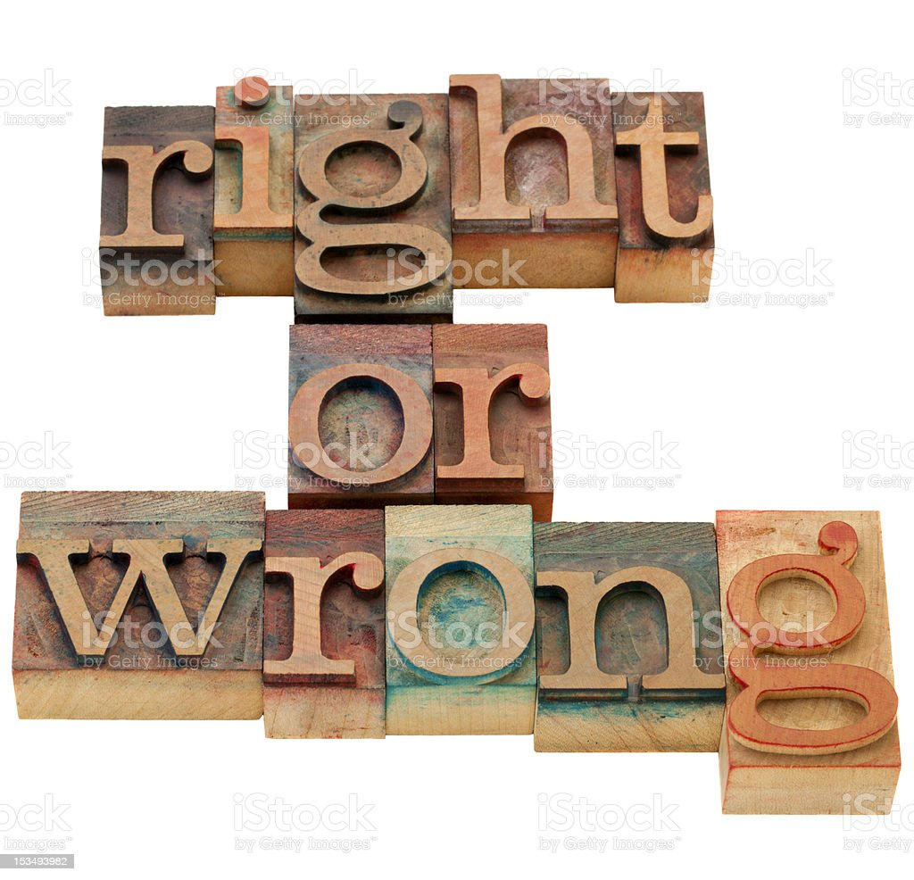 moral dilemma - right or wrong royalty-free stock photo