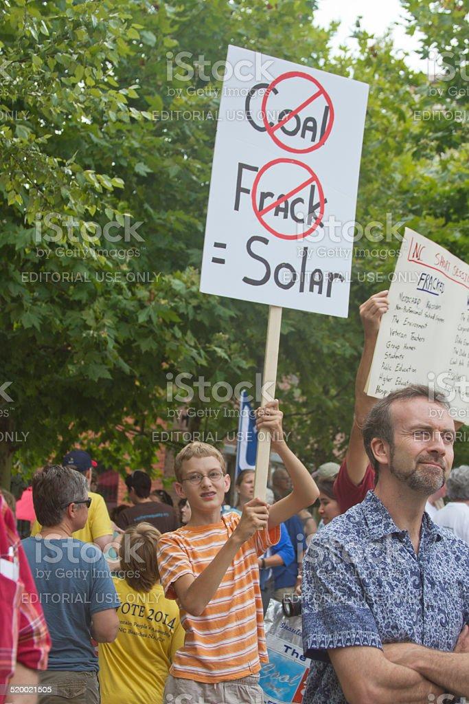 Moral Monday Anti Fracking Signs stock photo