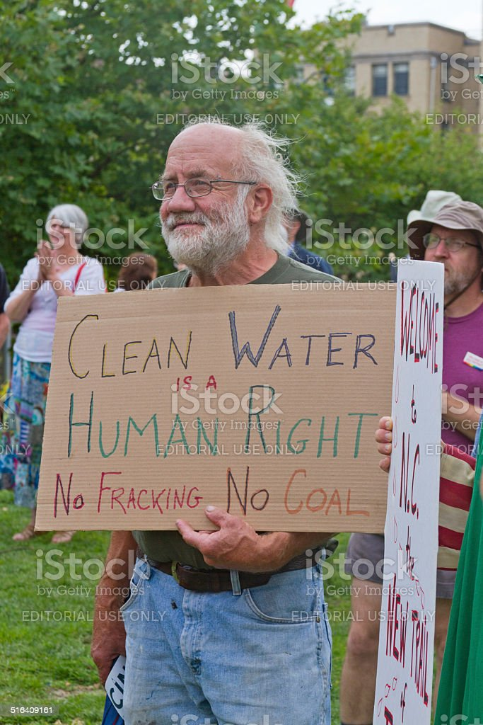 Moral Monday Clean Water, No Fracking or Coal Sign stock photo
