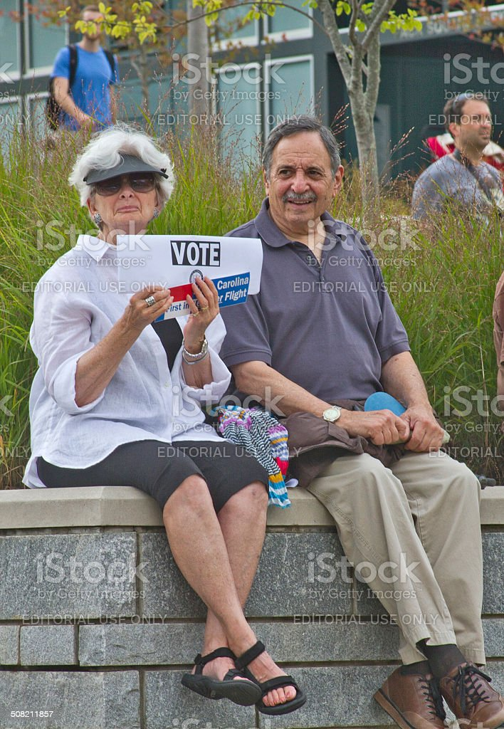 Moral Monday Rally VOTE sign stock photo